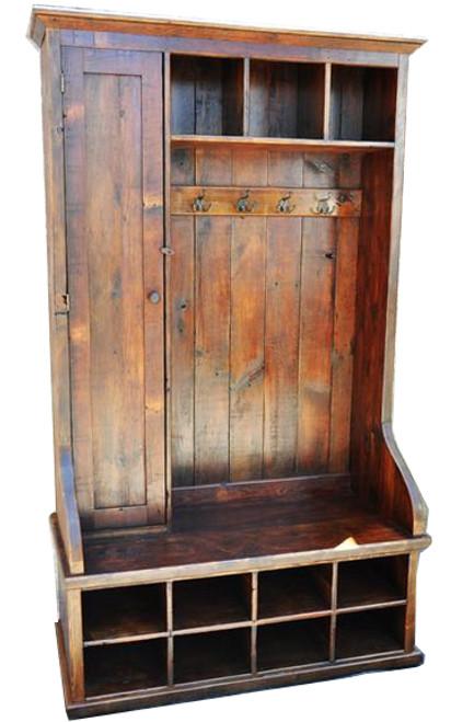 """Mudroom Organizer With Door 48"""" Rustic Reclaimed Wood Entranceway"""