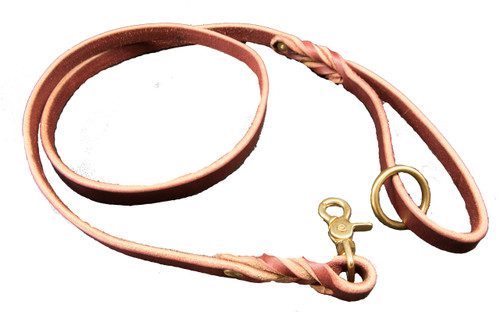 Latigo Leather Dog Leash with Solid Brass Hardware
