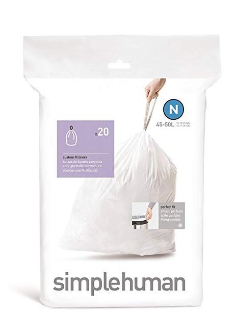 simplehuman Custom Fit Bin Liner Code N, Pack Of 20 - simplehuman CW0174
