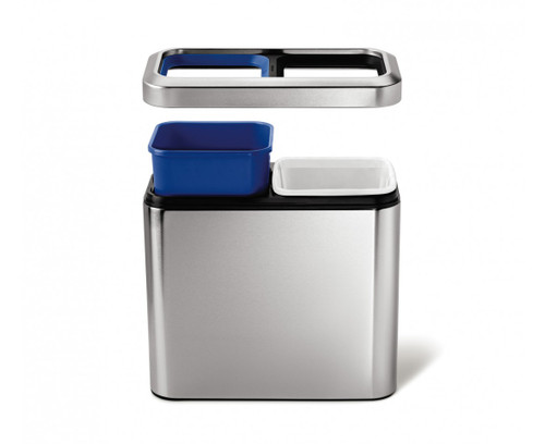 simplehuman Slim Open Recycler Bin 20 Litre (10/10), Brushed Steel