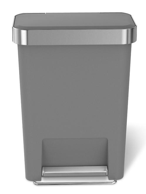 simplehuman Rectangular Plastic Pedal Bin With Liner Pocket 45 Litre, Grey