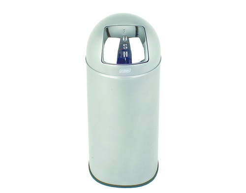 Probbax Metal Push Bin 40L - 10 4/7 Gal - Detachable Lid - Body Ss 430#, Lid 304#S/S - Matt Finish - Fitted With Galvanized Liner And Rim - Brushed Stainless Steel