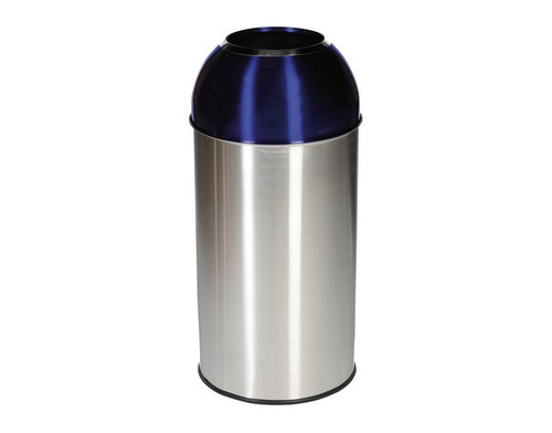 Probbax Open Dome Bin with Blue Lid - 40L - Satin Stainless Steel / Electric Blue