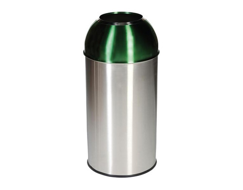 Probbax Open Dome Bin with Green Lid - 40L - Satin Stainless Steel / Electric Green