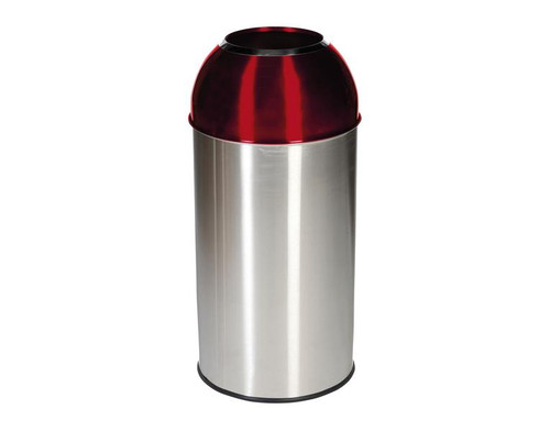 Probbax Open Dome Bin with Red Lid - 40L - Satin Stainless Steel / Electric Red