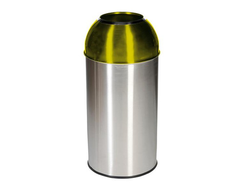 Probbax Open Dome Bin with Yellow Lid - 40L - Satin Stainless Steel / Electric Yellow