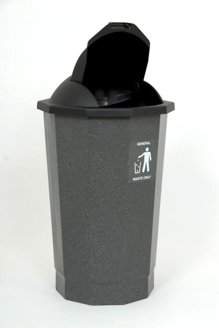 Beca Eco General Waste Bank (Black Lift Flap Lid) - 75 litres