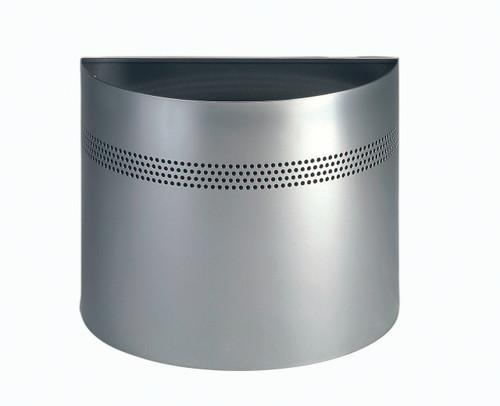 Durable Metal Semi-Circle Waste Basket - 20 Ltr - Silver