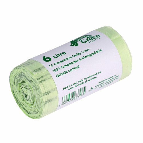All-Green Green Giraffe Compostable Kitchen Caddy Bags - Small - 6 Ltr