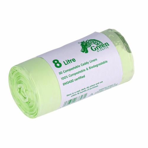 All-Green Green Giraffe Compostable Kitchen Caddy Bags - Medium - 8 Ltr