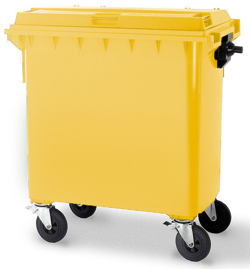 Yellow Wheelie Bin - 660 Litre