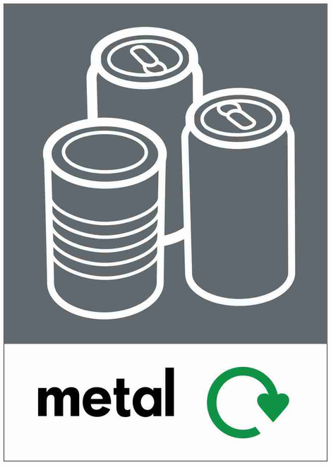 Large A4 Waste Stream Sticker - Metal