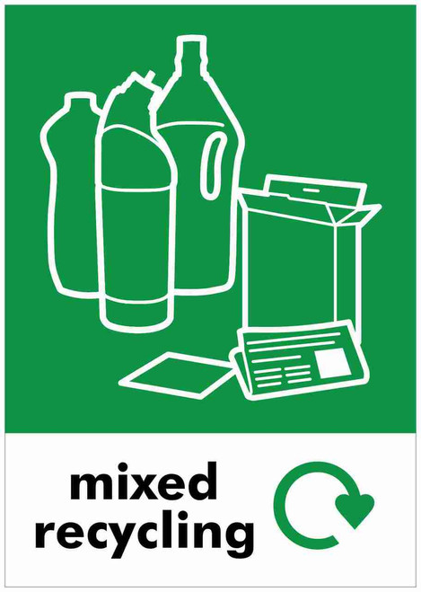 Large A4 Waste Stream Sticker - Mixed Recycling