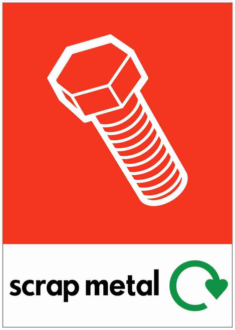 Large A4 Waste Stream Sticker - Scrap Metal