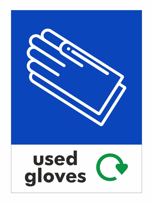 Large A4 Waste Stream Sticker - Used Gloves