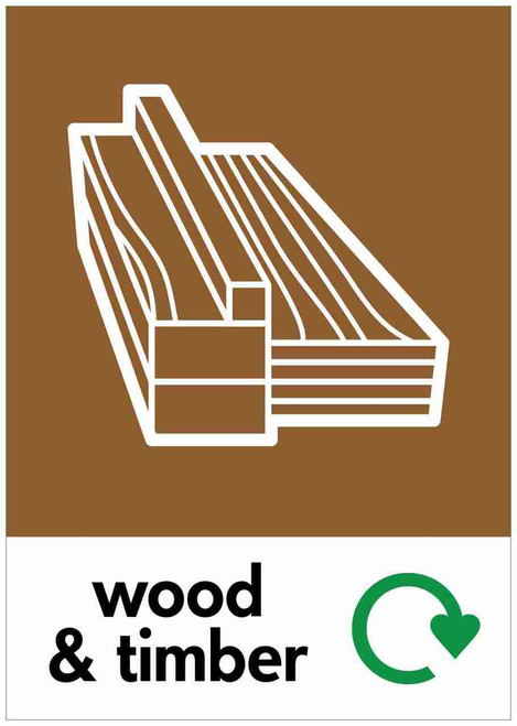 Large A4 Waste Stream Sticker - Wood & Timber