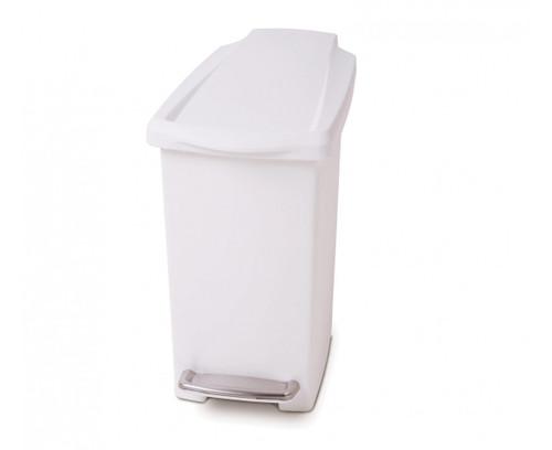 simplehuman Slim Plastic Pedal Bin 10 Litre, White