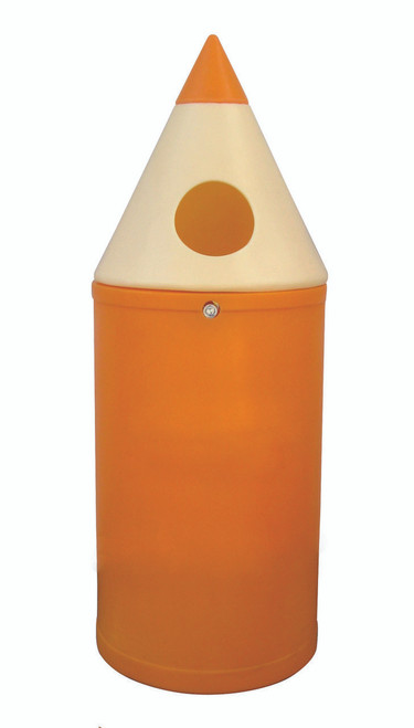 Theme Bins Plain Micro Pencil Bin in Orange for Indoor & Outdoor Use - 42 Litres