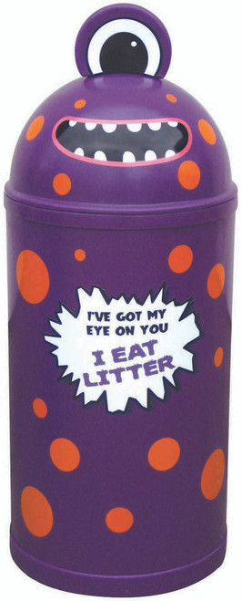 Theme Bins Small Monster Bin in Purple for Indoor & Outdoor Use - 42 Litres