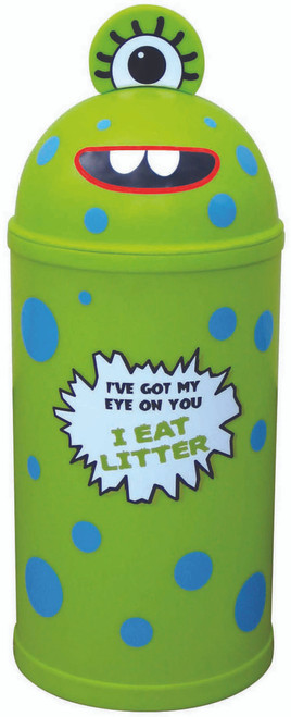 Theme Bins Small Monster Bin in Lime for Indoor & Outdoor Use - 42 Litres