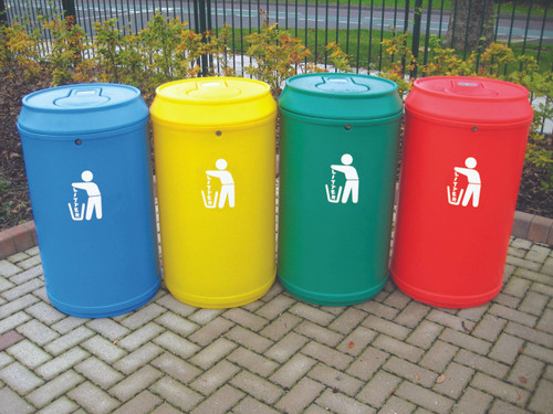 Theme Bins Drinks Can Litter Bin in Red for Indoor & Outdoor Use - 90 Litres