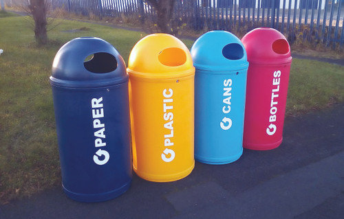 Theme Bins Classic with Paper Graphics in Dark Blue for Indoor & Outdoor Use - 90 Litres
