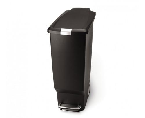 simplehuman Slim Plastic Pedal Bin 40 Litre, Black