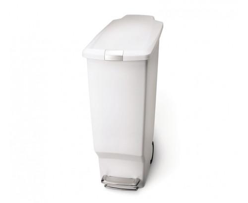 simplehuman Slim Plastic Pedal Bin 40 Litre, White