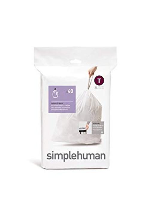 simplehuman Custom Fit Bin Liner Code T, Pack Of 40