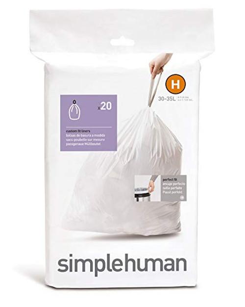 simplehuman Custom Fit Bin Liner Code H, Pack Of 20 - simplehuman CW0168