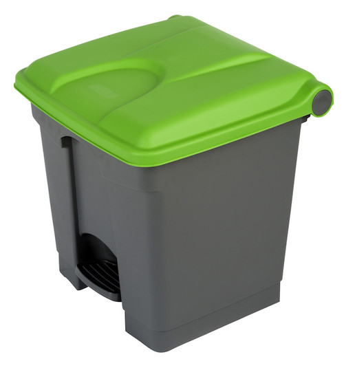 Probbax Step-On Container 30L - Grey (Body)/Green (Lid)