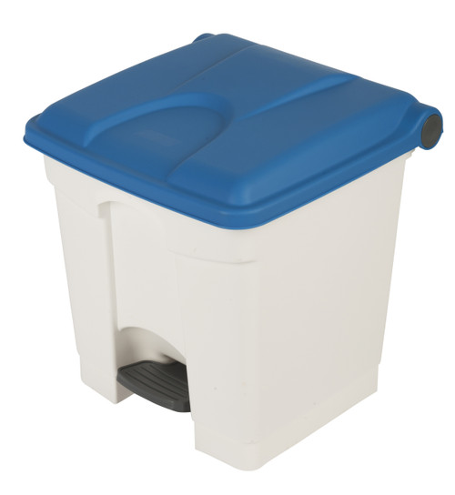 Probbax Step-On Container 30L - White (Body)/Blue (Lid)