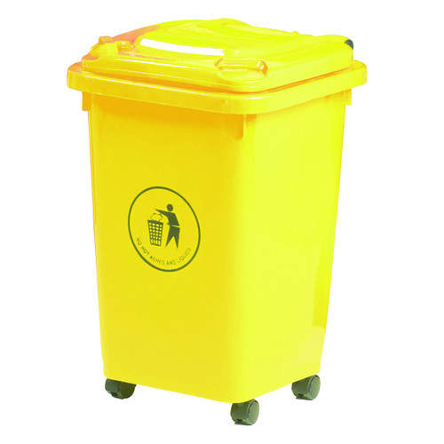 50L Wheeled Litter Bin - Yellow