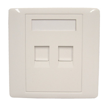 White RJ45 Twin Shuttered Outlet Plate With Screws.  Blister