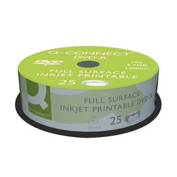 Q-Connect Inkjet Printable DVD-R Spindle Pk25