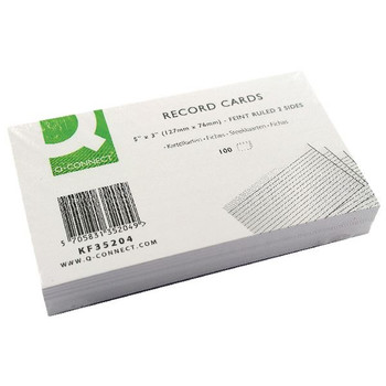 Q-Connect Record Card 5x3 Inches Ruled Feint White KF35204 00