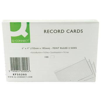 Q-Connect Record Card 6x4 Inches Ruled Feint White KF35205 00