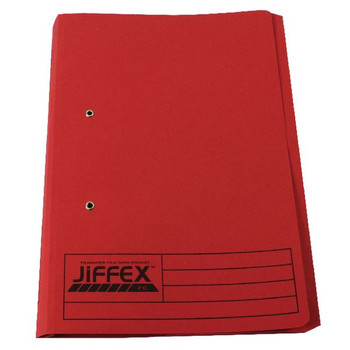 Rexel Jiffex Pocket File Foolscap Red 43318EAST