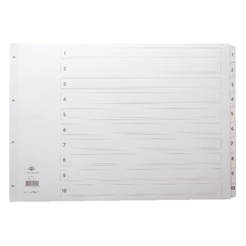 Concord A3 Index 1-10 Board Clear Tabs