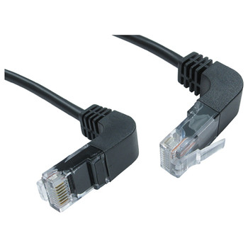 Electrovision Black Right Angled RJ45 cable to Right Angled RJ45 cable