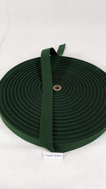 """Cotton Twill Tape 3/4"""" Forest Green, 72 yard roll"""