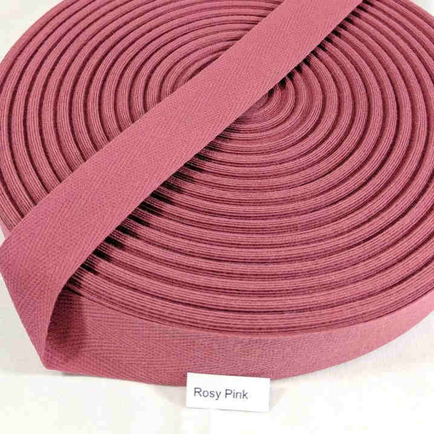 "Cotton Twill Tape 1.25"" Rosy Pink, 72 yard roll"