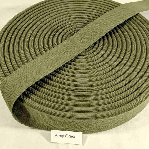 "Cotton Twill Tape 1.25"" Army Green, 72 yard roll"