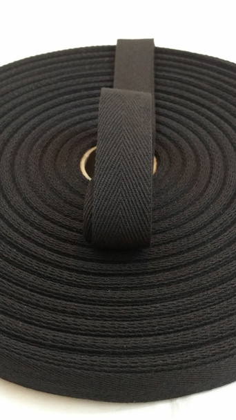 "Heavyweight 1"" black twill tape"
