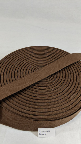 "Cotton Twill Tape 1.25"" Chocolate Brown, 72 yard roll"