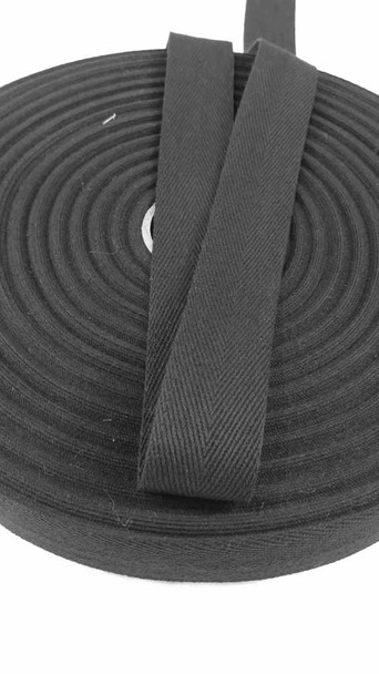 "Heavyweight 1.25"" black twill tape, 72 yard roll"