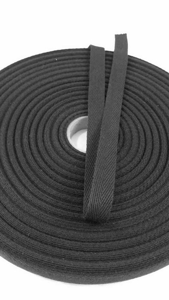 "Heavyweight 5/8"" black twill tape, 72 yard roll"