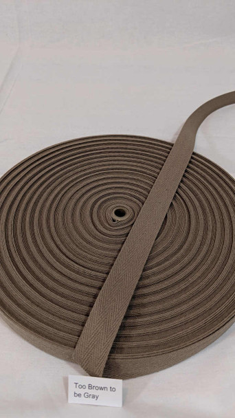 """Cotton Twill Tape 3/4"""" Too Brown To Be Grey and Too Grey To Be Brown, 72 yard roll"""