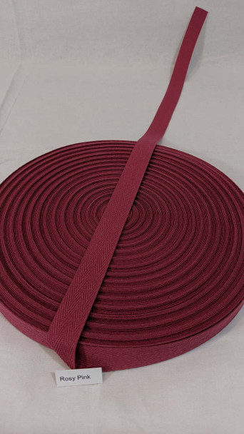 """Cotton Twill Tape 3/4"""" Rosy Pink, 72 yard roll"""