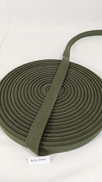 "Cotton Twill Tape 3/4"" Army Green, 72 yard roll"